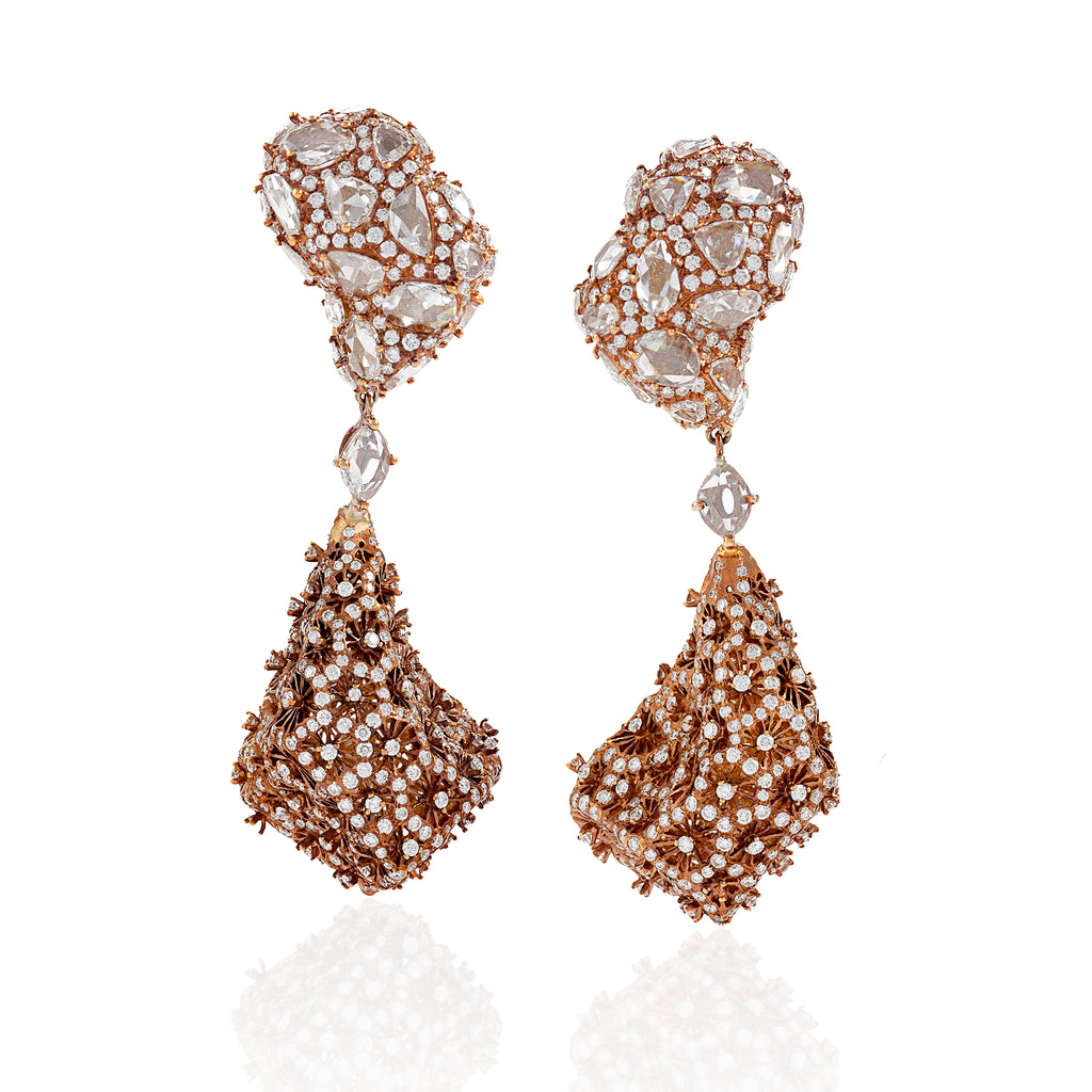 organic tear drop shape textured and studded with round full diamond earrings by neha dani available at Macklowe Gallery