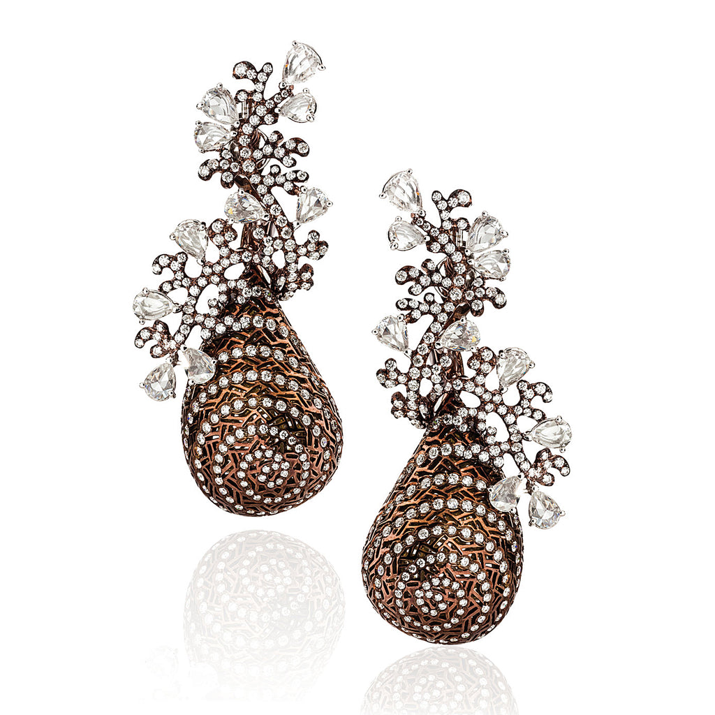Bronze colored rhodium with diamond accent drop earrings by Neha Dani available at Macklowe Gallery
