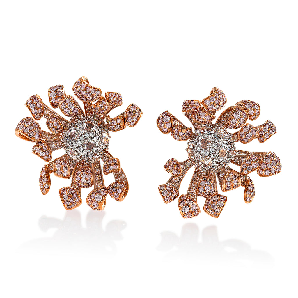 intricate floral inspired pink diamond studded earrings by neha dani available at Macklowe Gallery