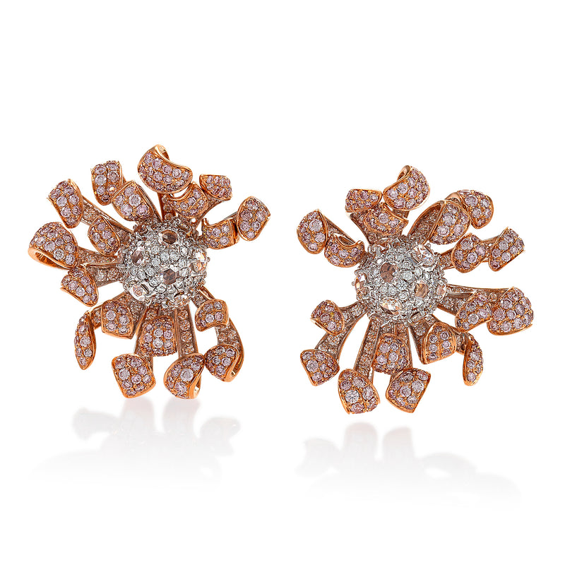 Intricate floral inspired pink diamond studded earrings