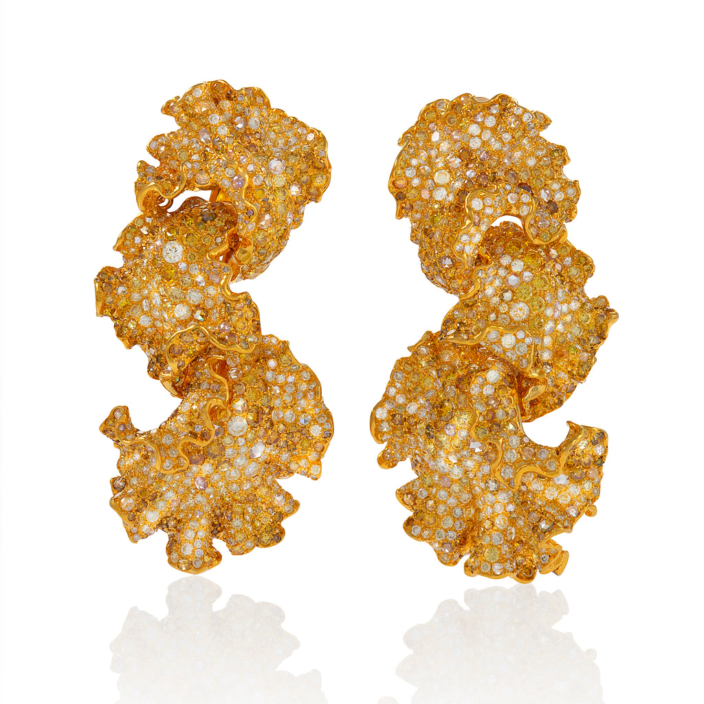 shiri earrings by neha dani, interlinked leaves in gold and diamond available at Macklowe Gallery