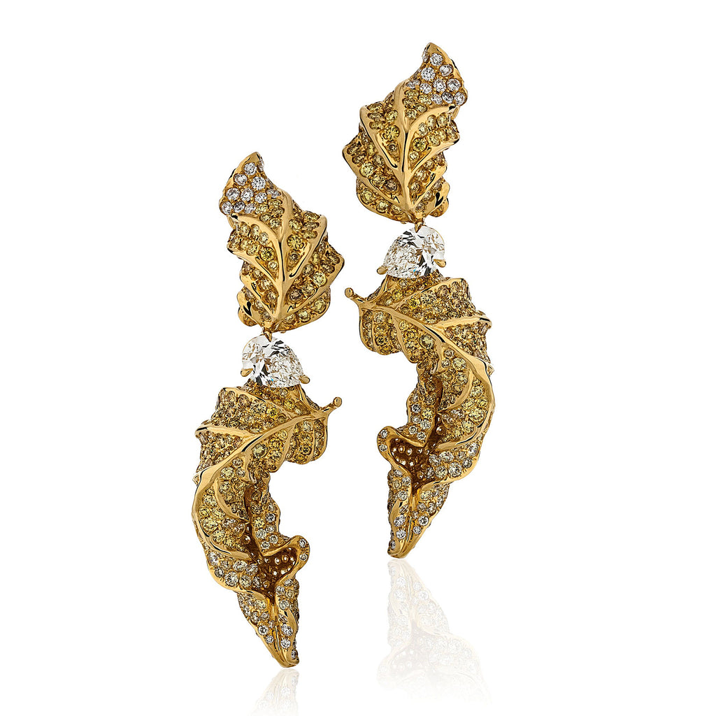 Yellow and white gold and diamond turning leaf drop earrings