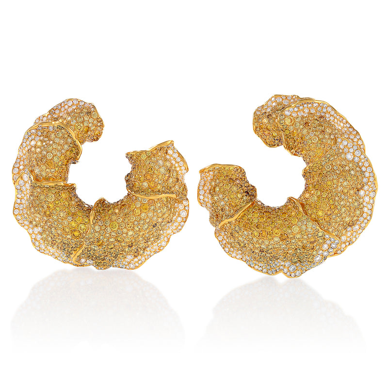 intricate yellow diamond concentric earrings by neha dani available at Macklowe Gallery