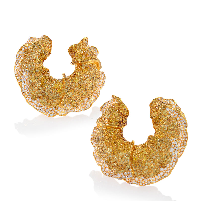 Intricate yellow diamond concentric earrings