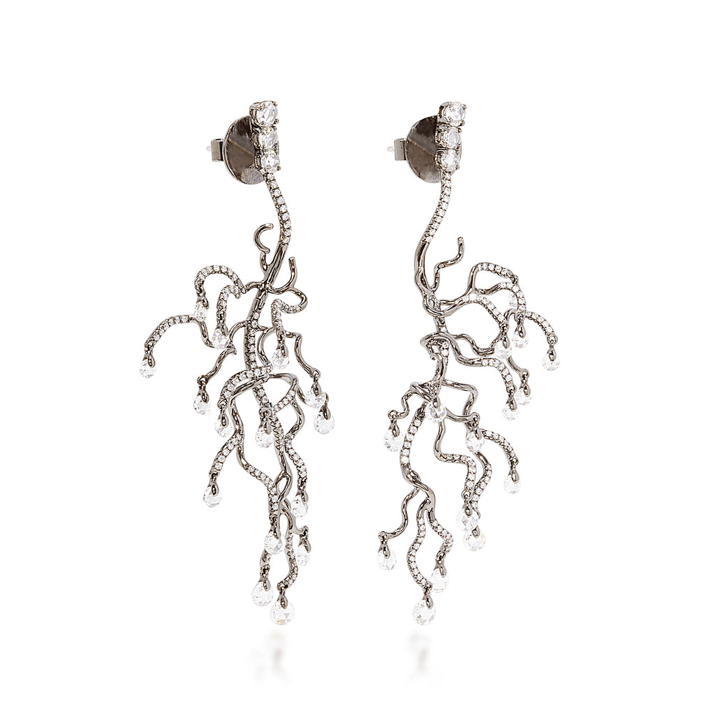 Sea anemone inspired branch like earrings with diamonds by neha dani available at Macklowe Gallery