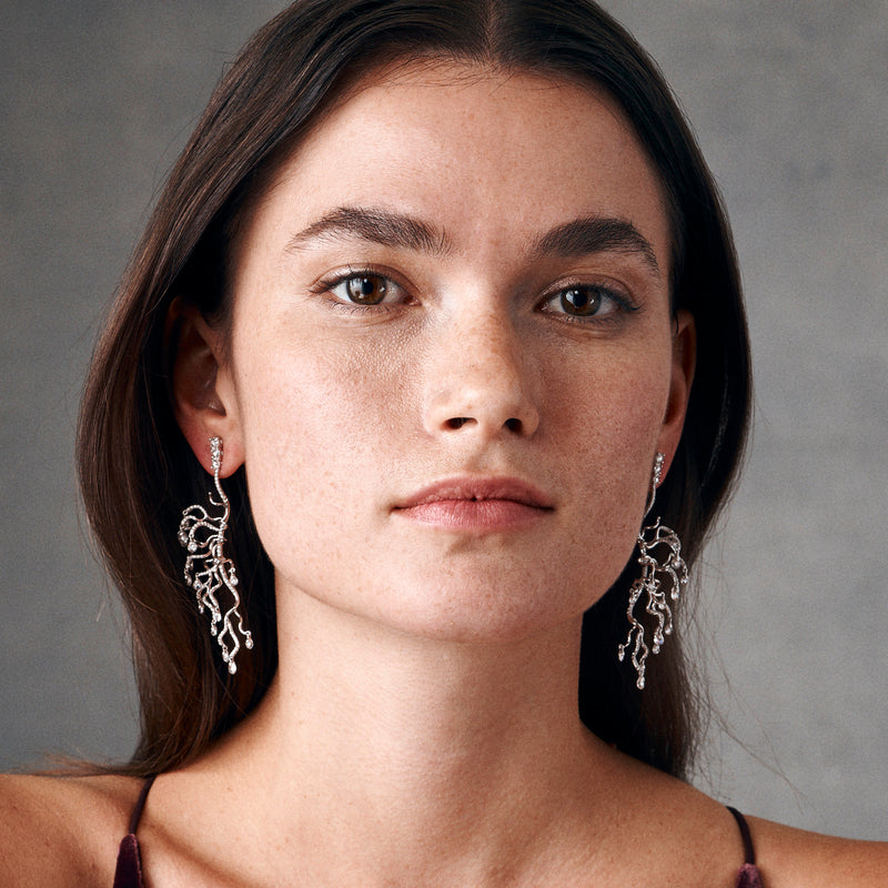 Model Showing Anemone Earrings