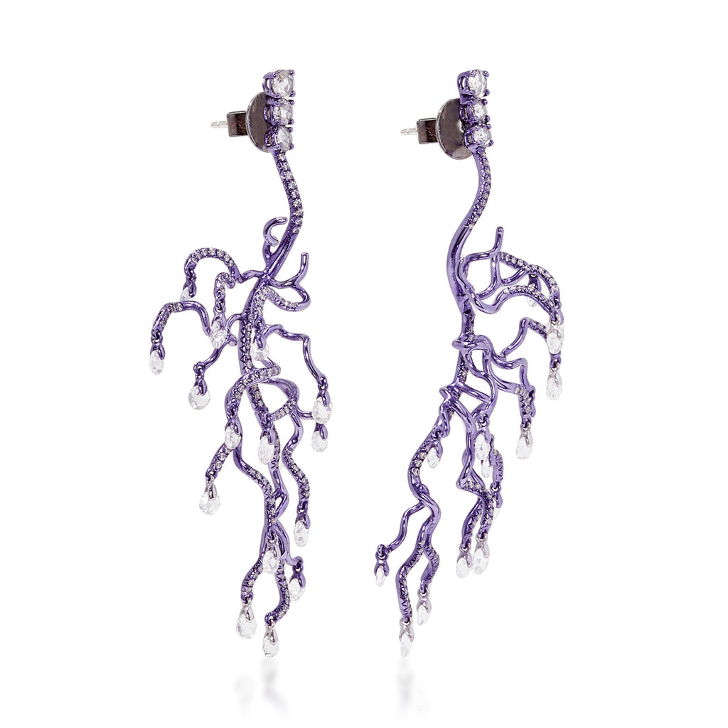 Sea anemone inspired branch like purple rhodium plated earrings with diamonds by neha dani available at Macklowe Gallery