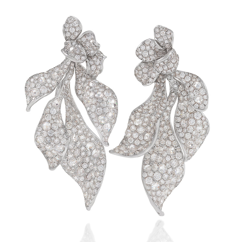 diamond drop earrings by neha dani, featuring four petite, curving petals available at Macklowe Gallery