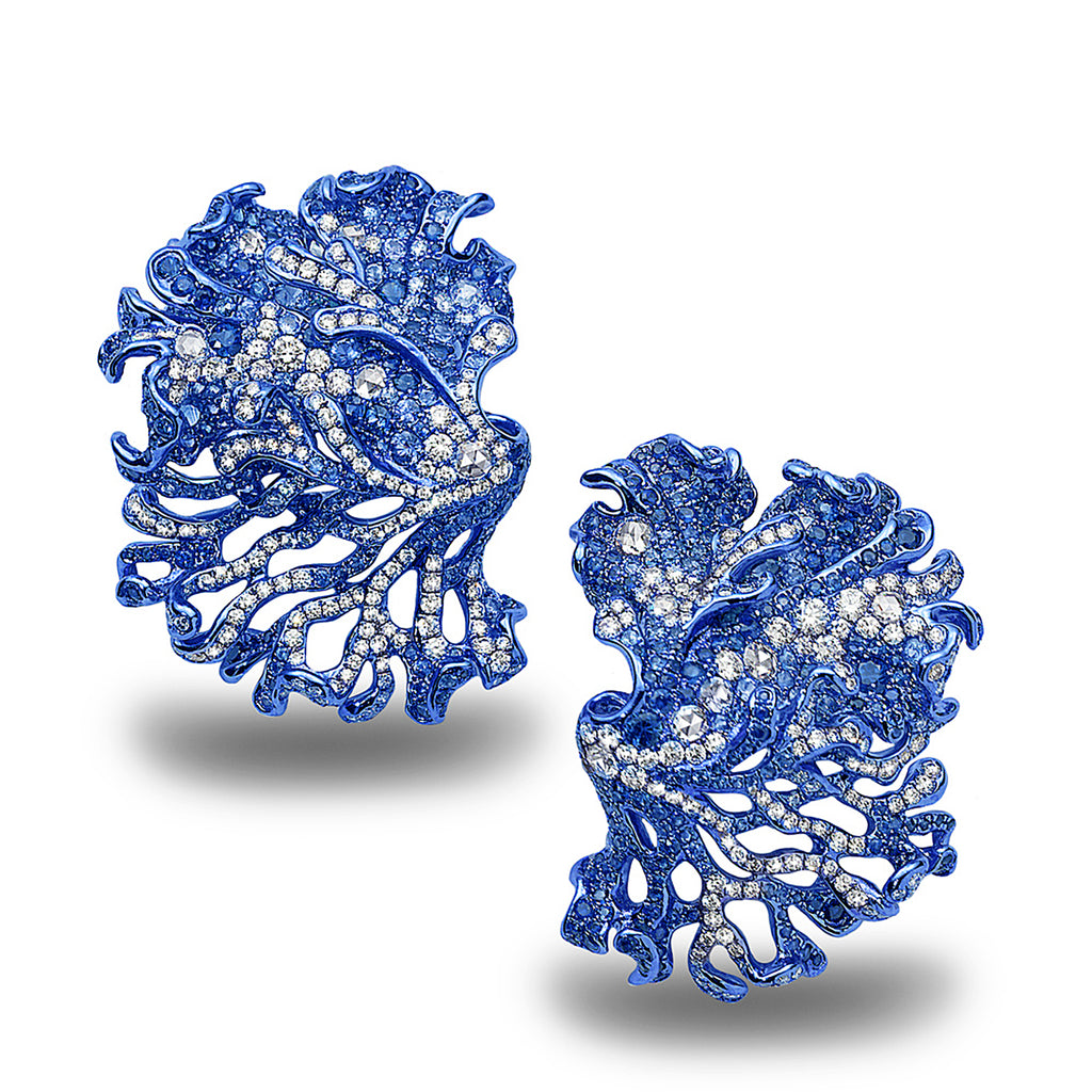 blue rhodium plated underwater bloom ear clips studded with sapphires and diamonds