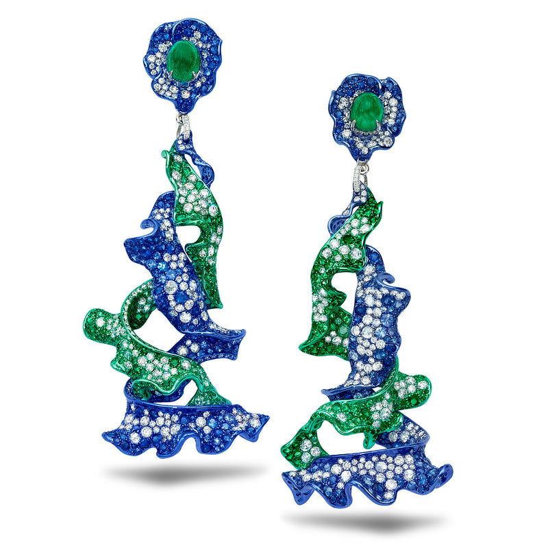 Green and blue rhodium plated diamond, sapphire and emerald earrings by Neha Dani available at Macklowe Gallery