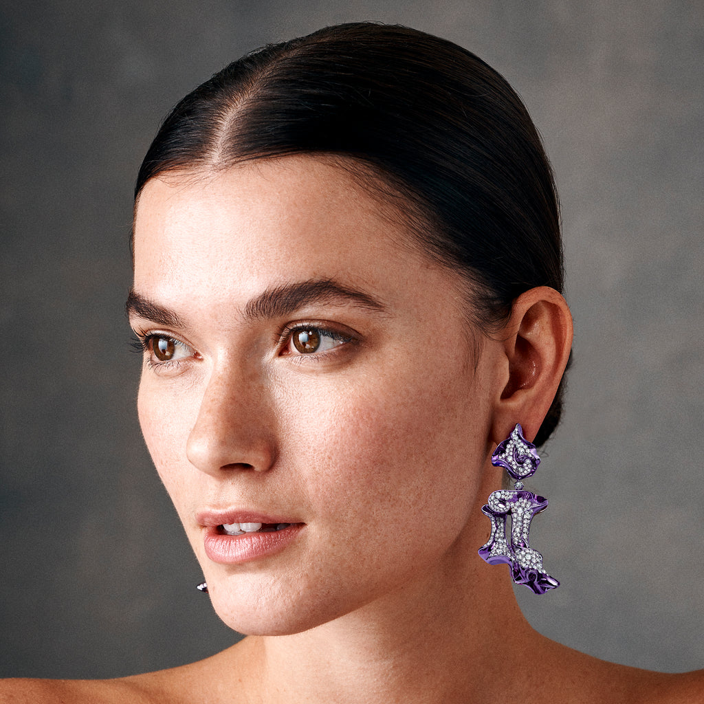 Purple rhodium plated and diamond studded earrings by Neha Dani available at Macklowe Gallery