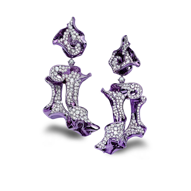 Purple rhodium plated and diamond studded earrings