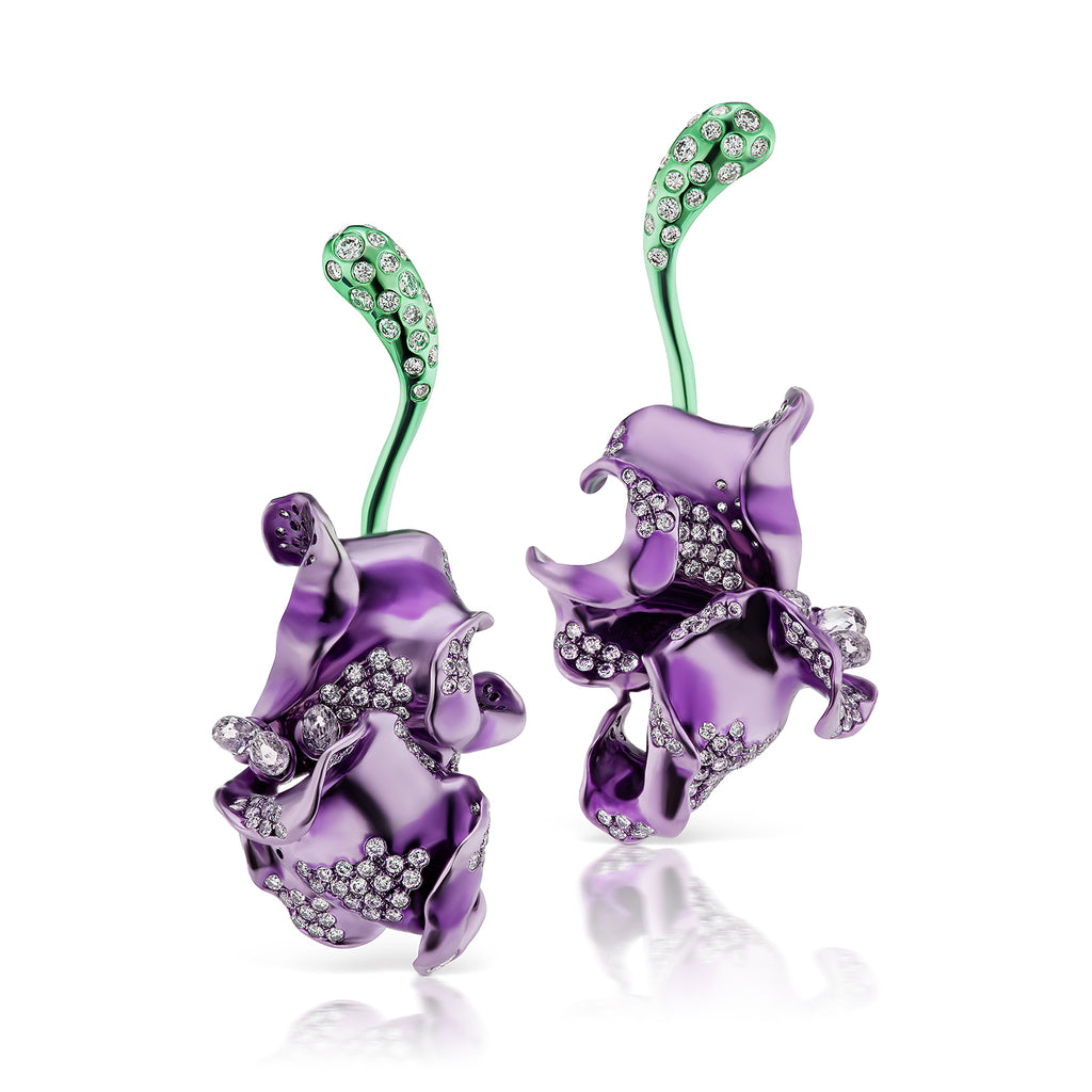 Green and purple rhodium plated earrings in a natural stemmed motif with diamond accents by Neha Dani available at Macklowe Gallery
