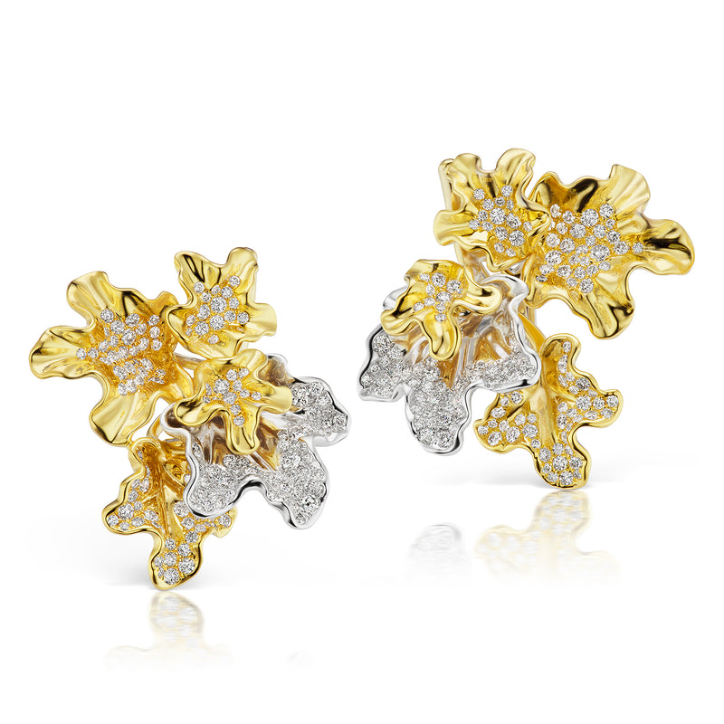 White and yellow gold bloom earrings studded with white diamonds by Neha Dani available at Macklowe Gallery