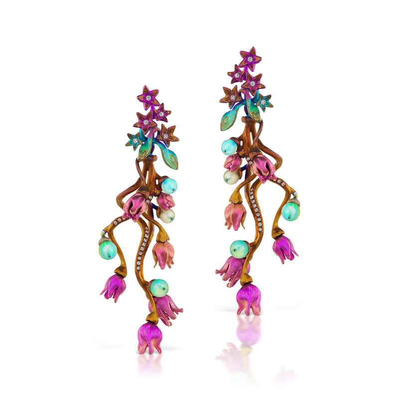 Titanium, opal, diamond bloom earrings