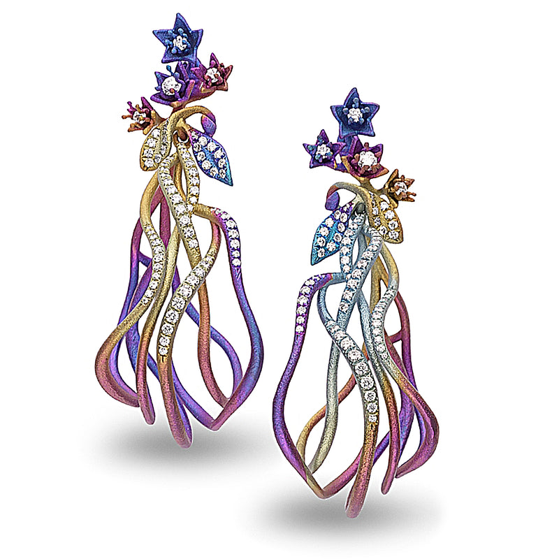 Polychromatic titanium looped drop earrings with diamond accents