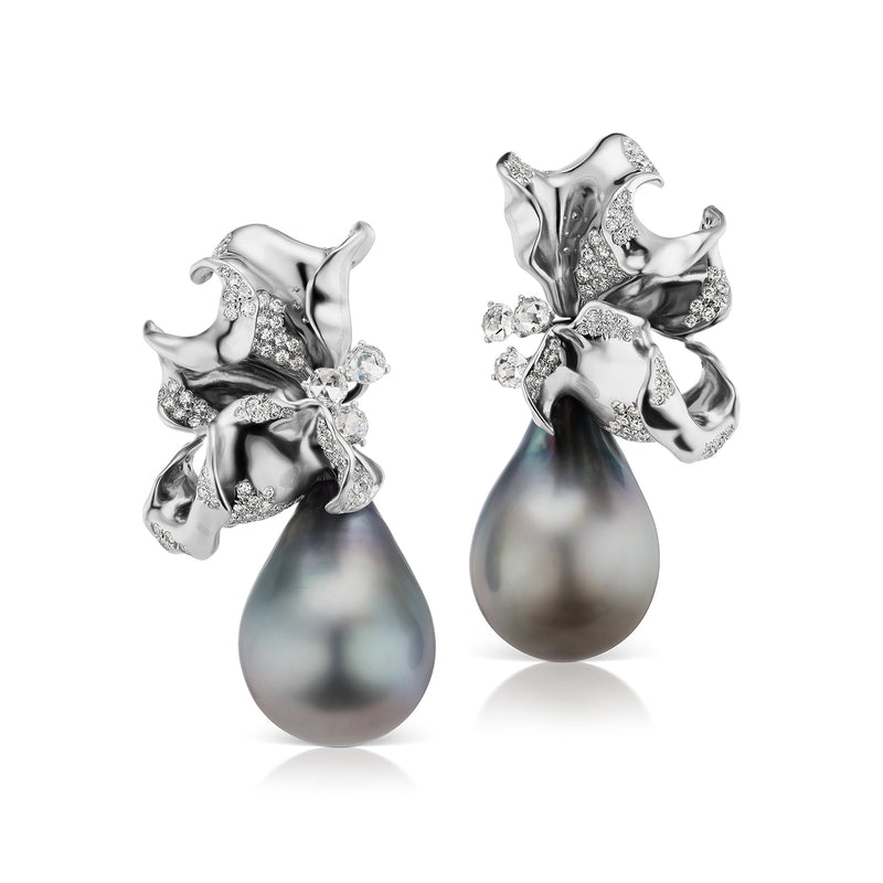 Diamond studded white gold and Tahitian pearl earrings by Neha Dani available at Macklowe Gallery
