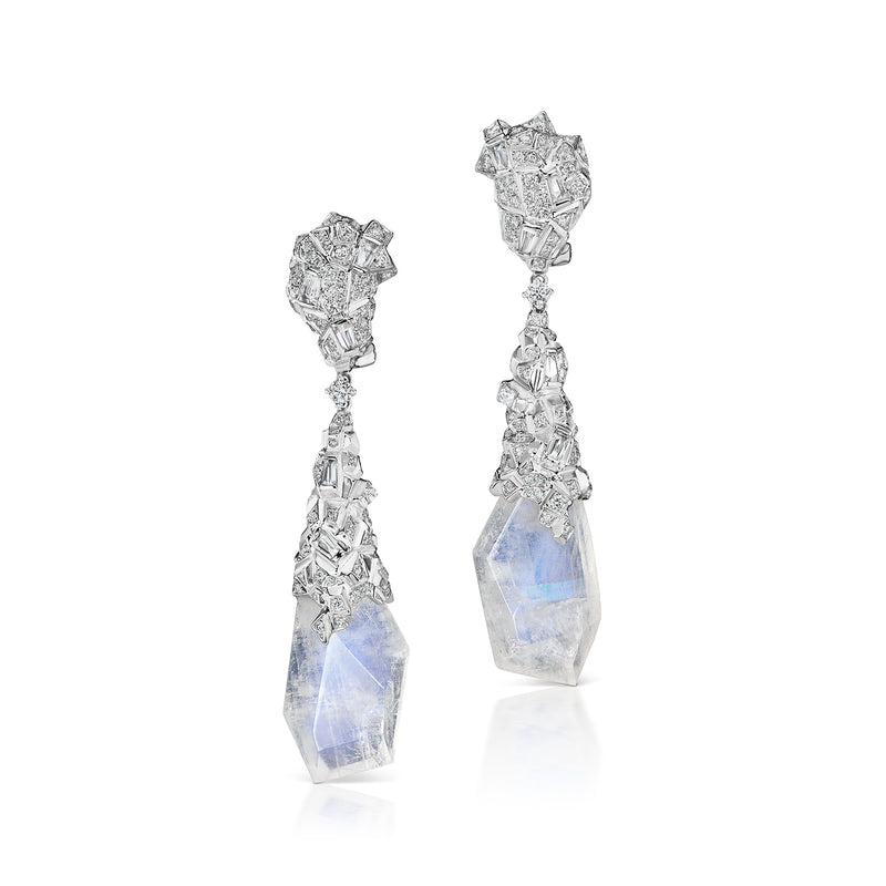 Glacial drop earrings featuring moonstone and diamonds by Neha Dani available at Macklowe Gallery