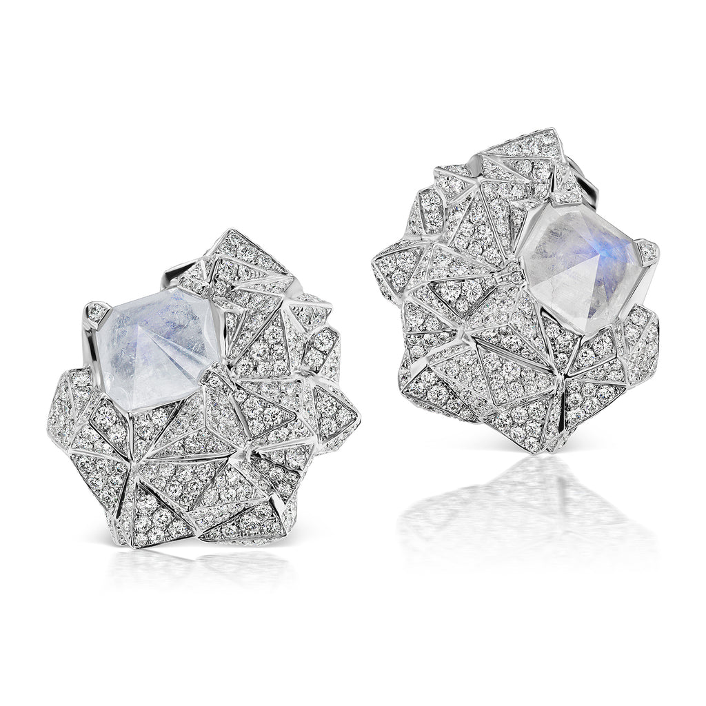 Glacially inspired multi-plane ear clips with diamonds and moonstone by Neha Dani available at Macklowe Gallery