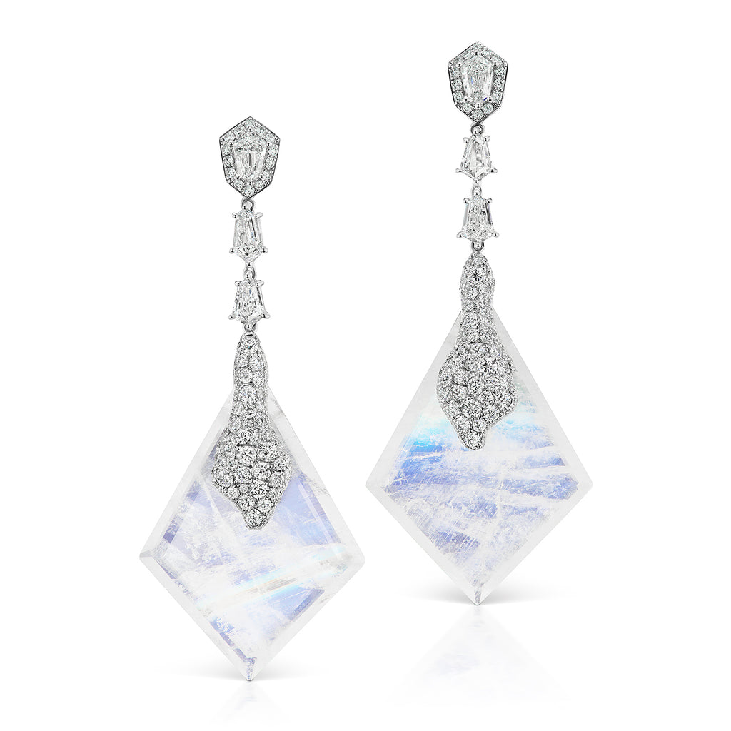 Glacially inspired moonstone and diamond drop earrings by Neha Dani available at Macklowe Gallery