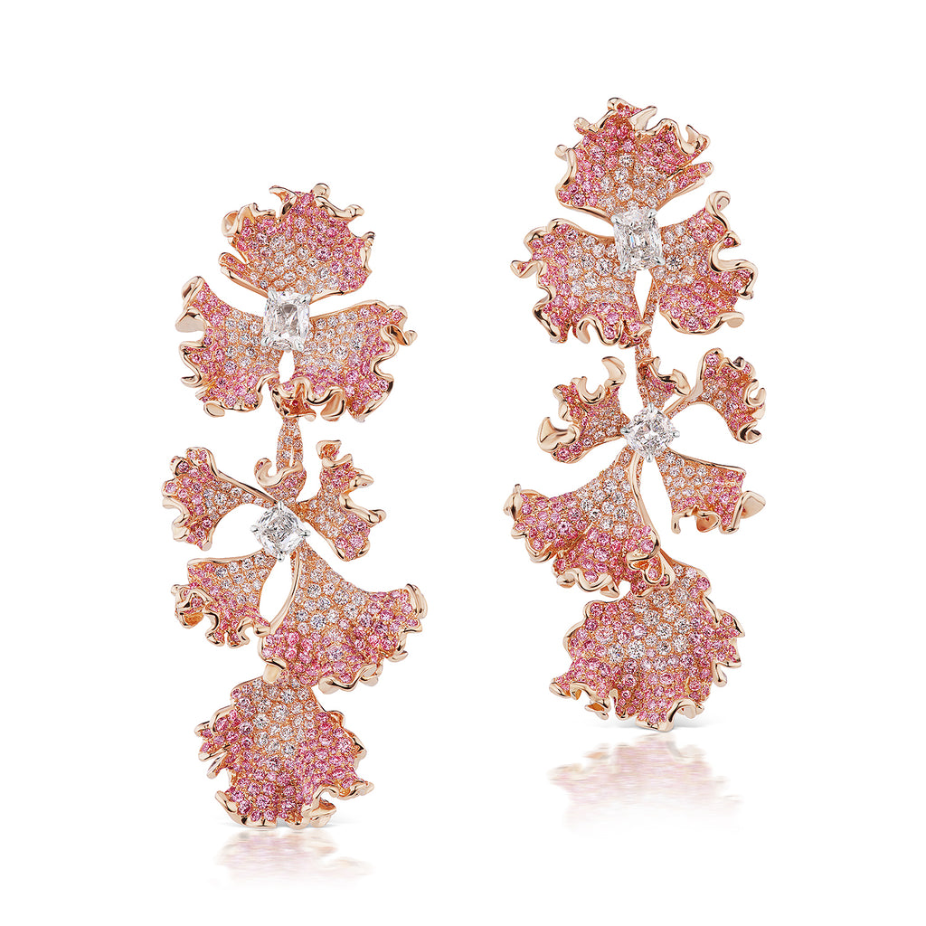 White and pink diamond studded convertible earrings in a leaf like motif, by Neha Dani available at Macklowe Gallery