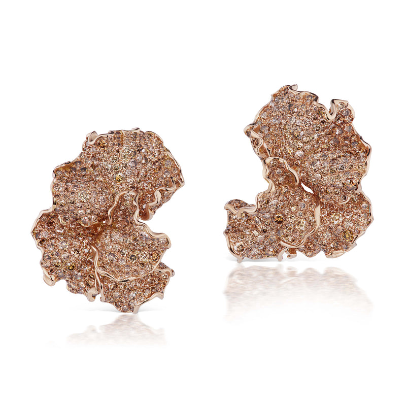 18k gold rose gold asymmetrical petal-shaped earrings by neha dani