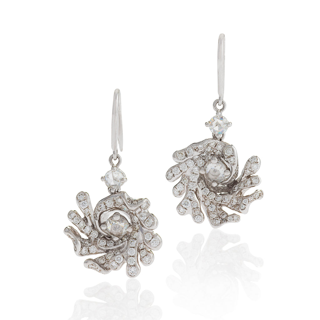 Drop earrings center a a single rose cut diamond