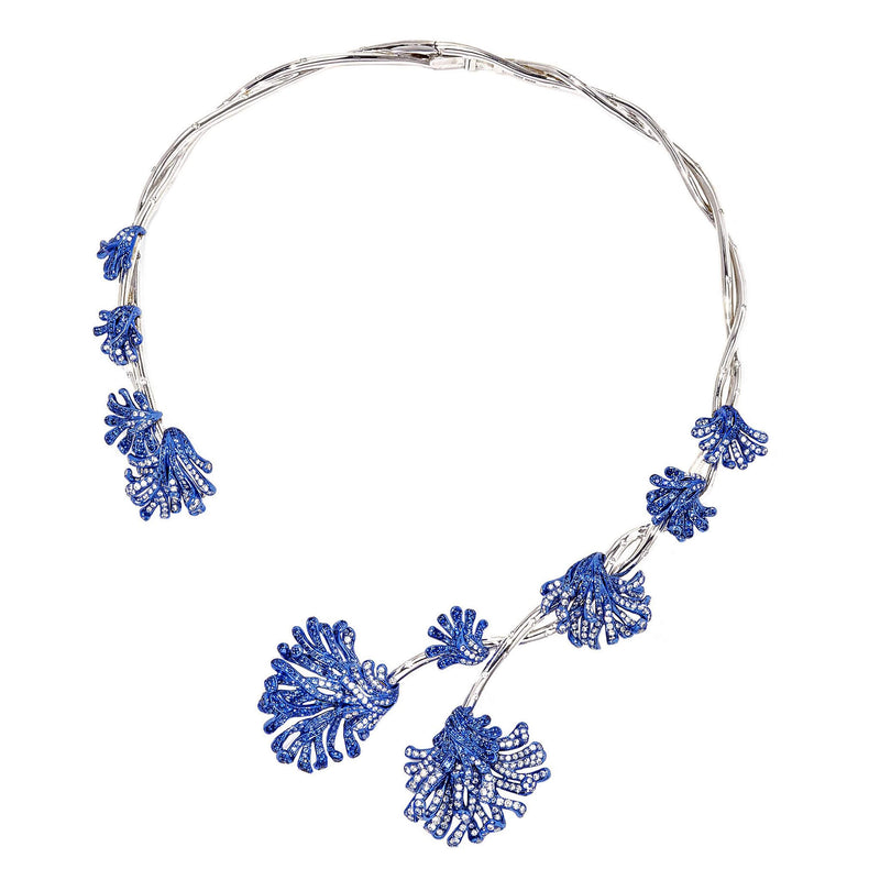 White gold and blue rhodium plated collar necklace with diamonds and sapphires