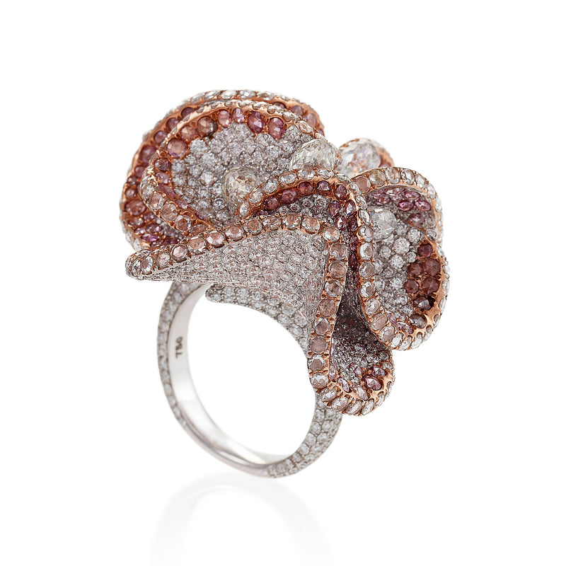 floral ring with pink and white diamonds by neha dani available at Macklowe Gallery