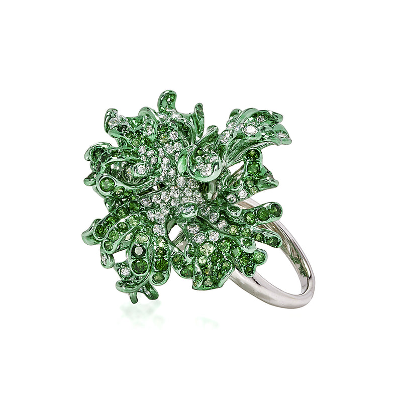 Green rhodium plated white gold ring with diamonds and tsavorite by Neha Dani available at Macklowe Gallery