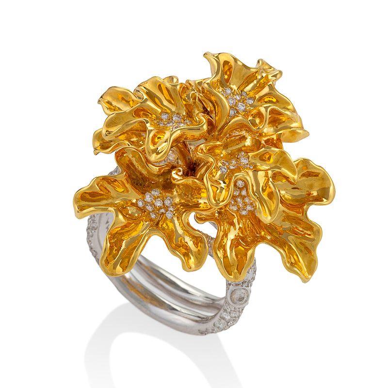 Yellow gold bloom ring studded with white diamonds by Neha Dani available at Macklowe Gallery