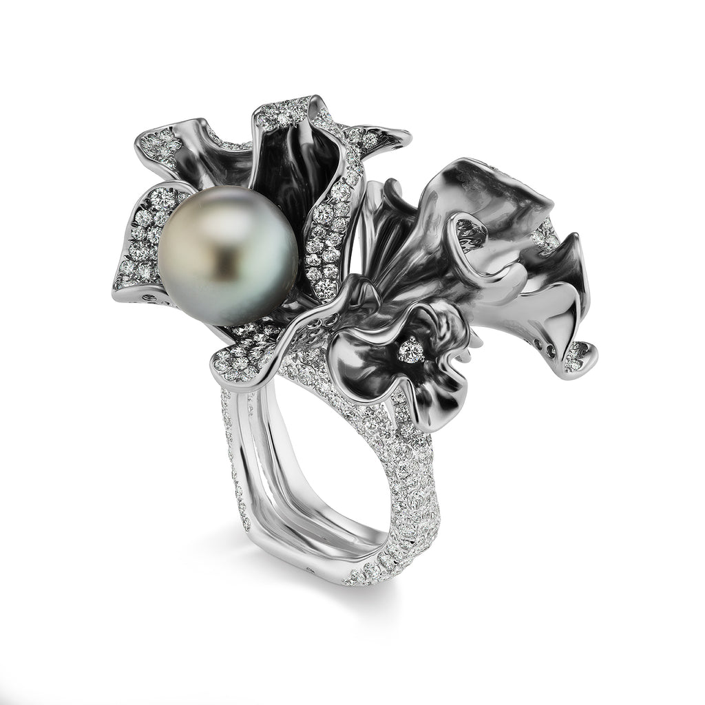 Rhodium plated diamond studded white gold and Tahitian pearl ring by Neha Dani available at Macklowe Gallery