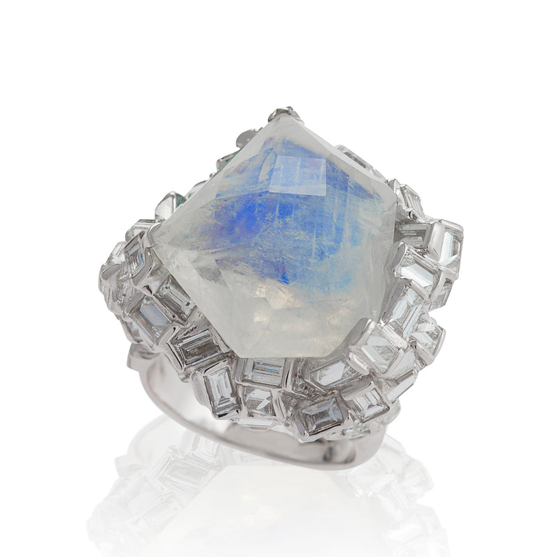 Amery Ice Moonstone and Diamond Ring