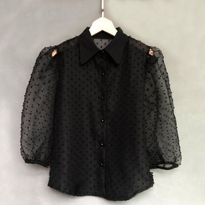 Chiffon Retro Dot Blouse - OWNPURPLE