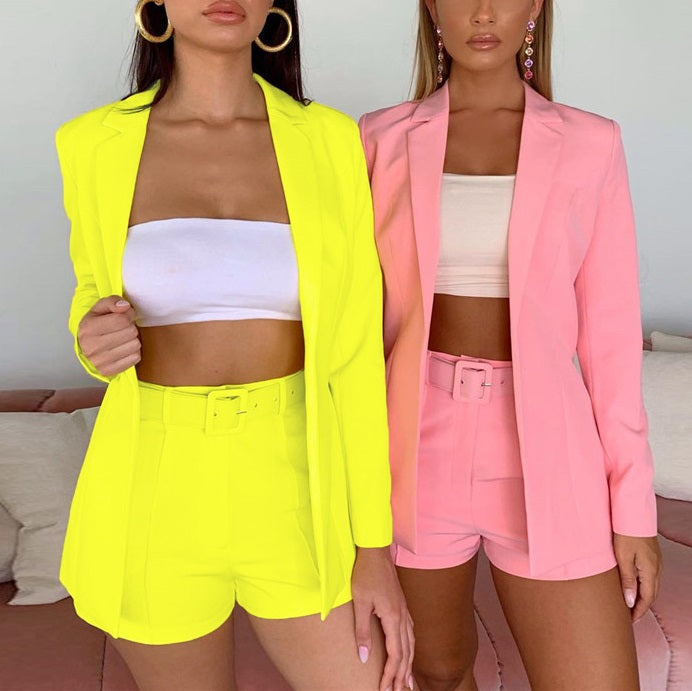 Colorful Blazer Shorts Suits Set - OWNPURPLE
