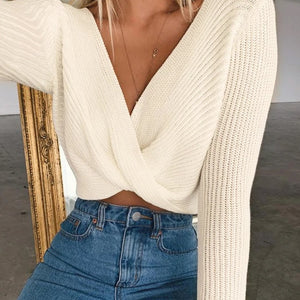 Cross Crop Top Knit - OWNPURPLE