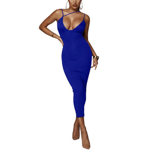 Deep V-neck Long Evening Dress - OWNPURPLE