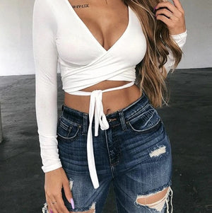 Deep V neck Sexy Over wrap Crop Top - OWNPURPLE