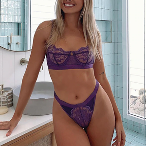 Lace Transparent Wireless Bralettes & Panties Sets 9 colors - OWNPURPLE