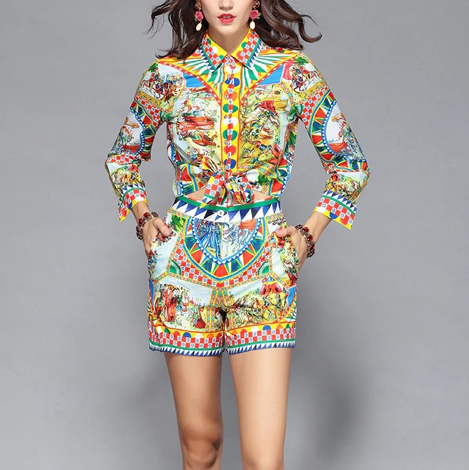 Long Sleeve Print Blouses and Shorts Two Pieces Set Suit - OWNPURPLE