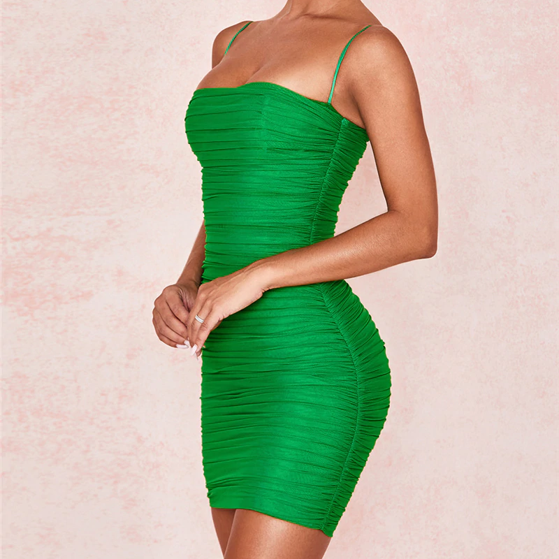 Mesh Bodycon Ruched Summer Dresses - OWNPURPLE