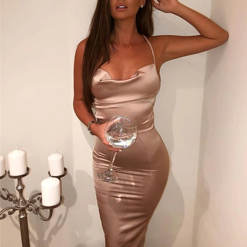 Satin Elegant Slim Fit Bodycon Long Dresses - OWNPURPLE