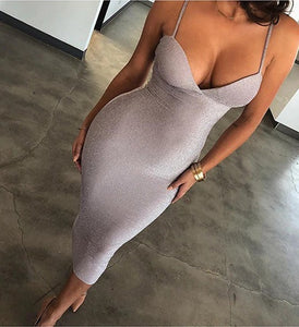 Sparkly V-Neck Body-Con Dress - OWNPURPLE
