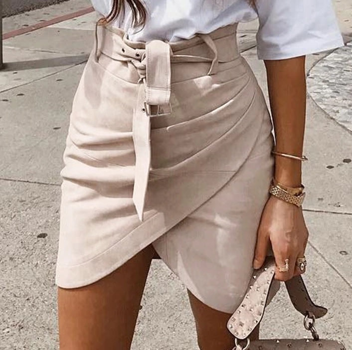 High Waist Belt Suede Wrap Mini Skirt - OWNPURPLE