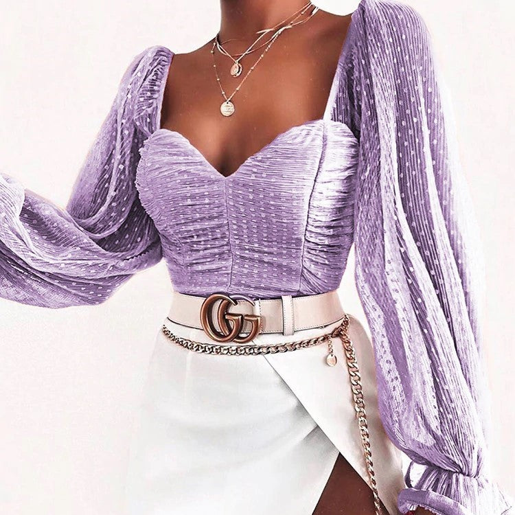 Sweet Sheer Lantern Long Sleeves Ruffled Blouse - OWNPURPLE