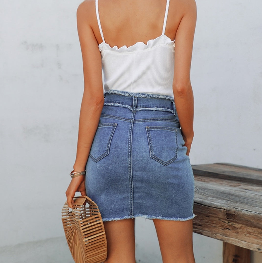Tassel Denim High Waist Skirt - OWNPURPLE