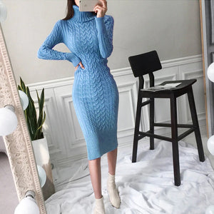 Turtleneck Twist Knitted Long Dresses - OWNPURPLE