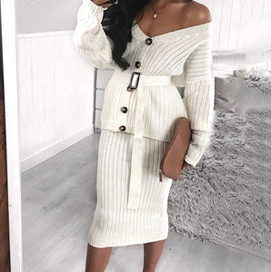 Two-Piece Knitted Dress - OWNPURPLE