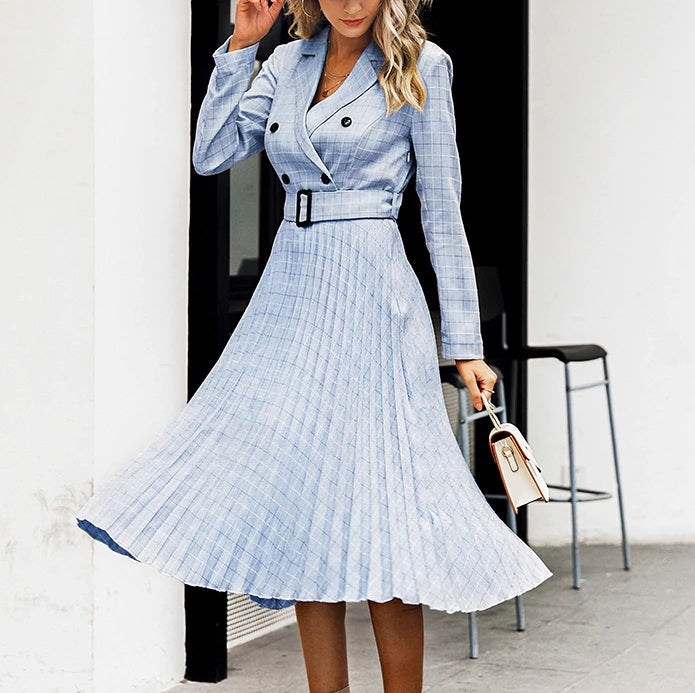 Vintage Elegant Plaid Pleated Blazer Dresses - OWNPURPLE