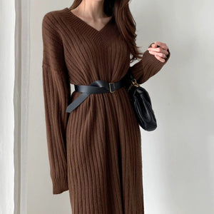 Yara Knit Long Dresses - OWNPURPLE